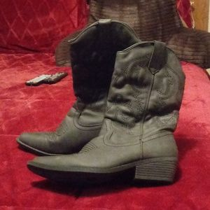 Shoes - Dark Grey Cowgirl Boots